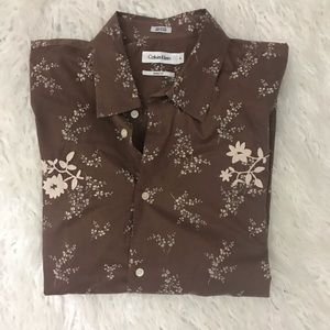 Calvin Klein brown modern fit embroidered shirt